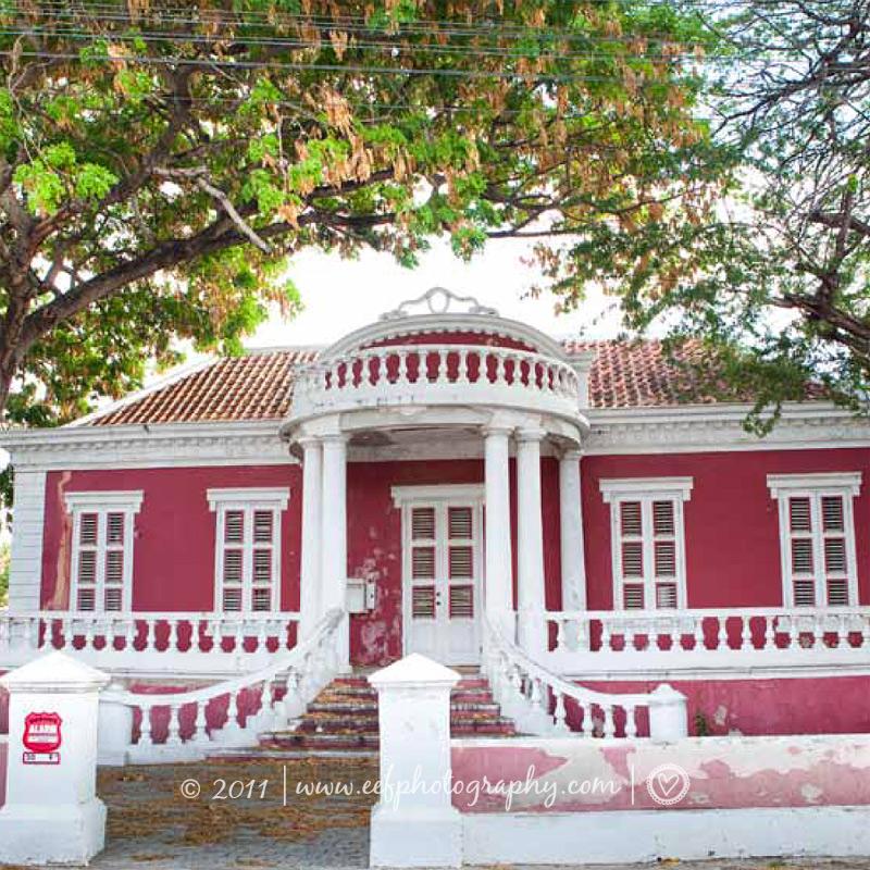 ansichtkaart Curacao huizen bloemen