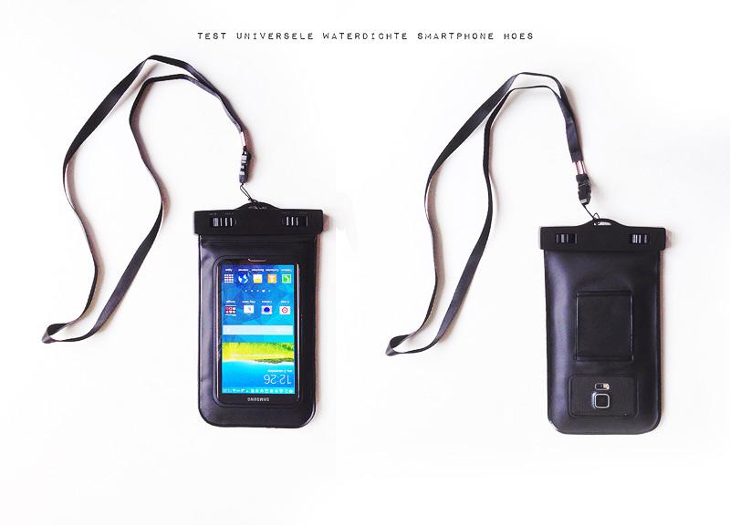 test universele waterdichte smartphone hoes