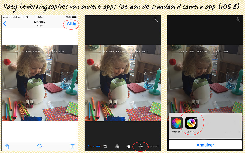 iPhone fotografie, camera+ tutorial, toevoegen camera+ beweringsopties aan basis camera, iOS 8