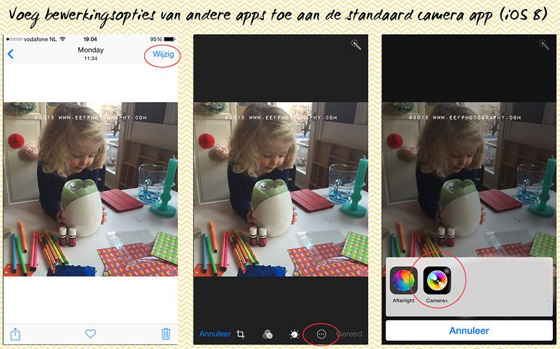 iPhone fotografie, camera+ tutorial, toevoegen camera+ beweringsopties aan basis camera, iOS 8